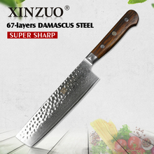XINZUO 7inch slicing knife Japaness chef knives 67 layer Damascus steel kitchen knife rosewood handle chef knife cleaver cutlery