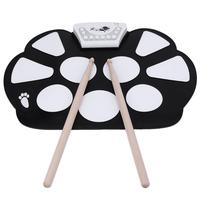 Professional Electronic Drum Pad Digital Foldable Roll up Kit Silicone USB Foot Pedal Portable Percussion Instruments Drum