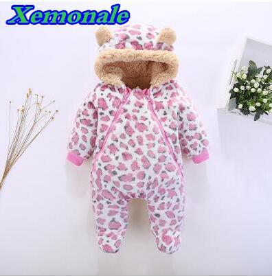 New Style Coral Fleece Newborn One Piece Boys Rompers Warm Winter Baby Girls Formal Clothes Toddler Sleepwear Newborn Warm Suit