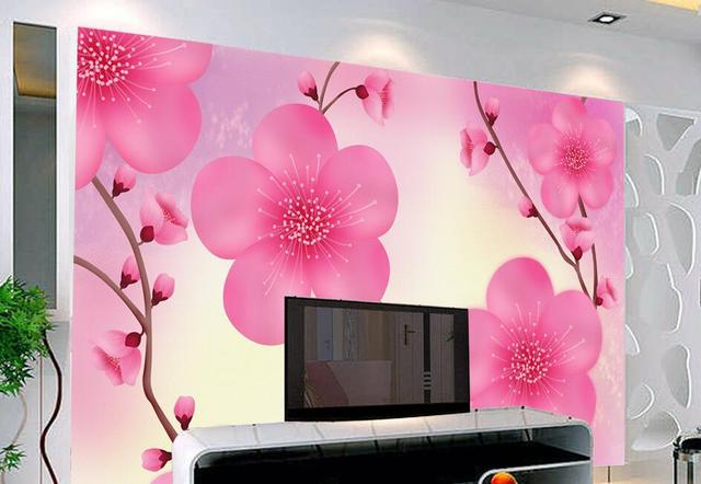 Custom papel DE parede 3 d,Pink Peach floral wallpaper for the ...