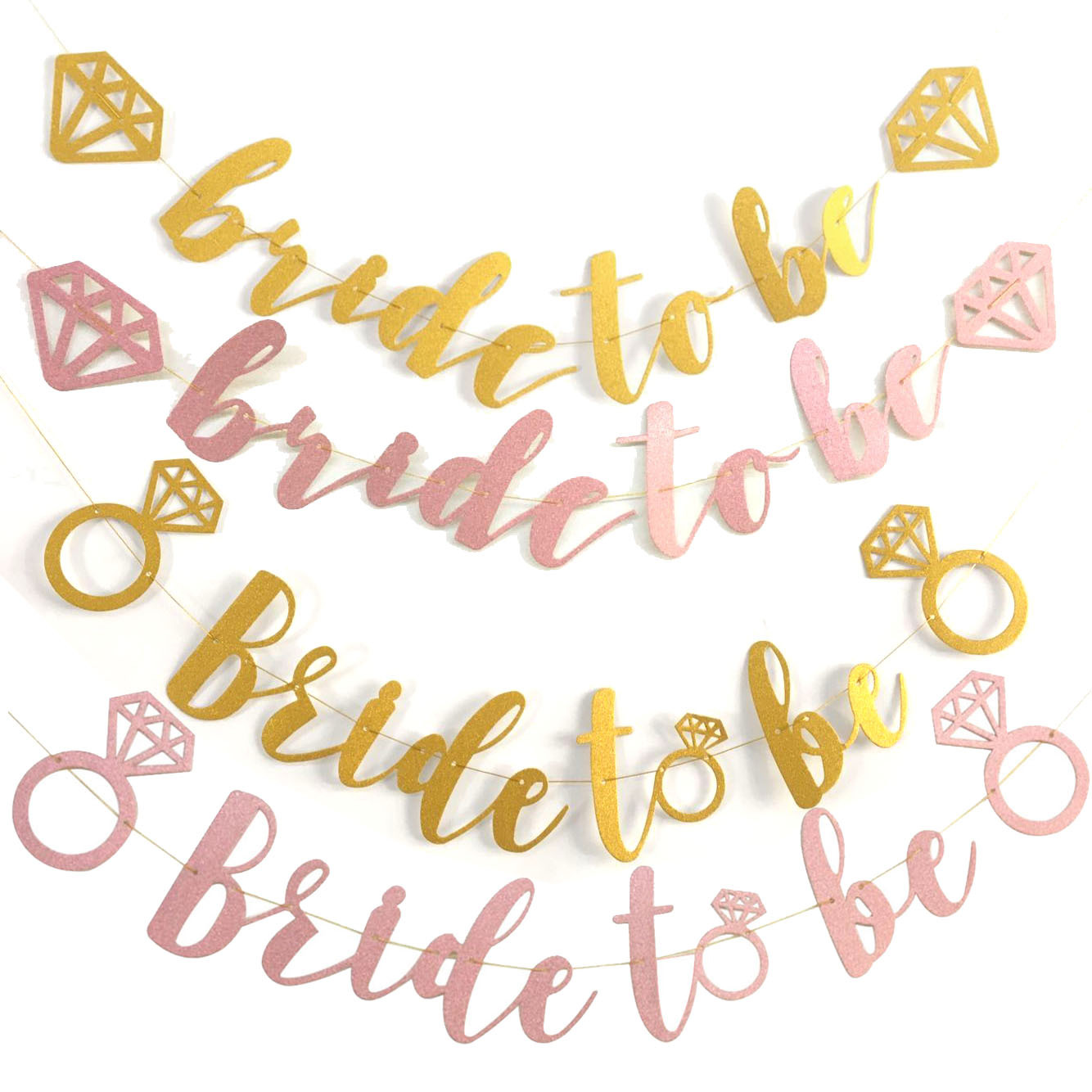 Bride To Be Banners Pulling Flag With Diamond Ring Glitter Wedding Hanging Flags Gold & Rose Gold For Wedding Party Accessories