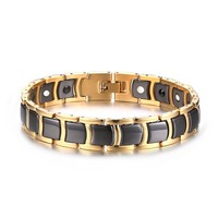 Mens Two Tone Stainless Steel Magnetic Magnet Therapy Bracelet Germanium Biomagnetic Health Bangles Jewelry with Gift Box
