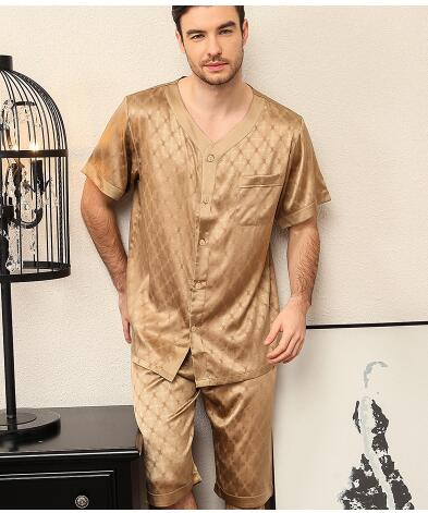 Nobleman Luxury Clothes Heavy Real Silk Pajamas For Men Pijamas Short Sleeves Middle Pants Heavy Silk Sleepwear Loungewear