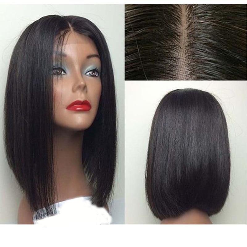LUFFYHAIR Short Bob Wigs Brazilian 100 Remy Hair Straight 5 4 5 Silk Base Full Lace