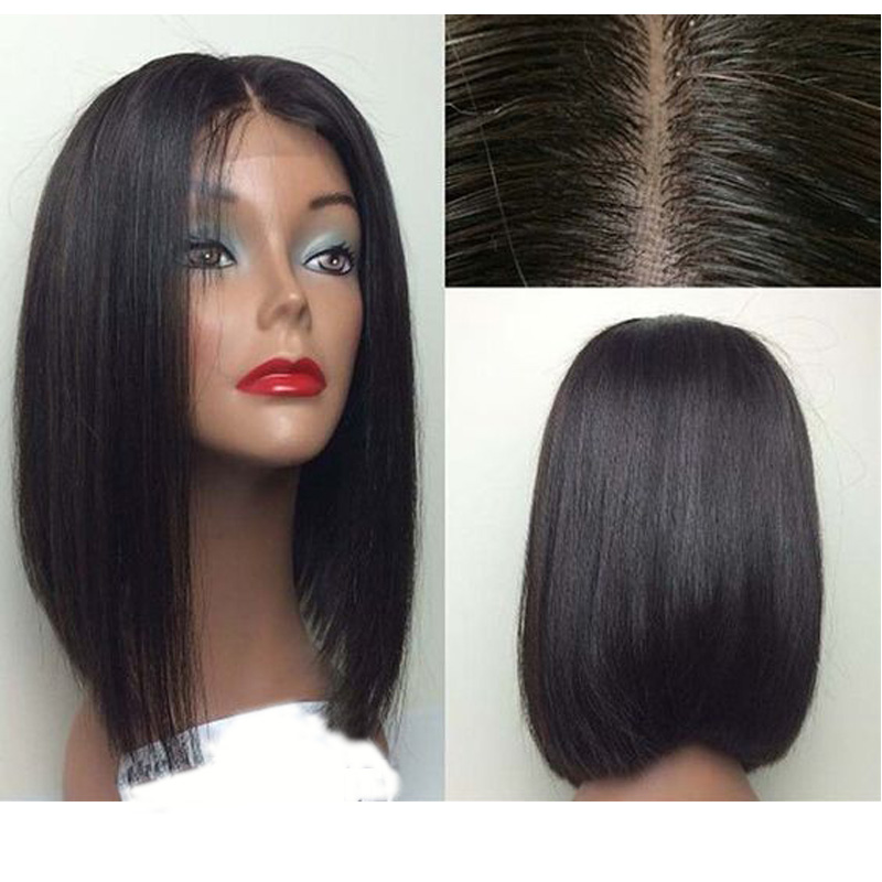 LUFFYHAIR Short Bob Wigs Brazilian 100% Remy Hair Straight 5*4.5 Silk Base Full Lace Human Hair Wigs Pre-Plucked Bleached Knots