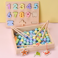Candice guo wooden montessori toy multifunctional baby hand train wood clip carry beads ball shape match board fish game 1box