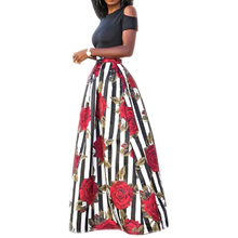 Új két darab alkalmi női Maxi ruha rövid ujjú fekete felső hosszú mintás virágos ruha Plus Size 6XL Vestidos