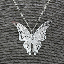 Luck Dog Women Lovely Butterfly Pendant Chain Necklace Jewelry