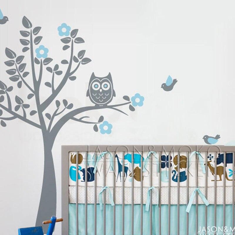 Cartoon Owl Tree Bird Animal Flowers Wall Sticker Decal Mural Wallpaper  Nursery Children Baby Room Modern. Owl Bedroom Wallpaper