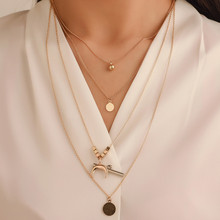 TTLIFE Gold Color Choker Necklace for Women Long moon Tassel Pendant Chain Necklaces & Pendants Moon Chokers Fashion Jewelry docona bohemia new fashion round cross moon star shape gold color chokers chains necklace pendant for women ladies jewelry