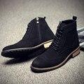 Hombres Botas de Invierno Botas de Vestir de Cuero de Gamuza Hombres Zapatos Casual Botas Marca Hombre Negro Suede Ankle Boots