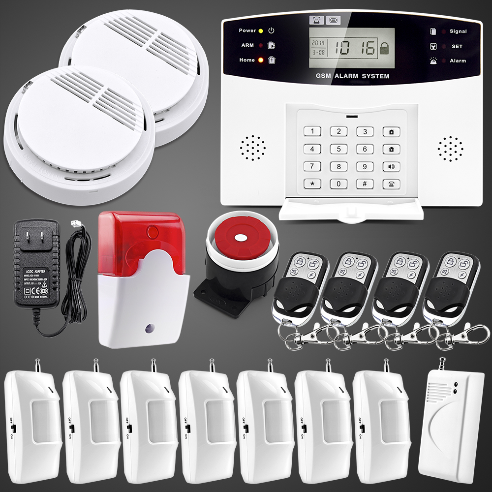 english russian spanish french voice gsm alarm system wireless home security systems lcd. Black Bedroom Furniture Sets. Home Design Ideas