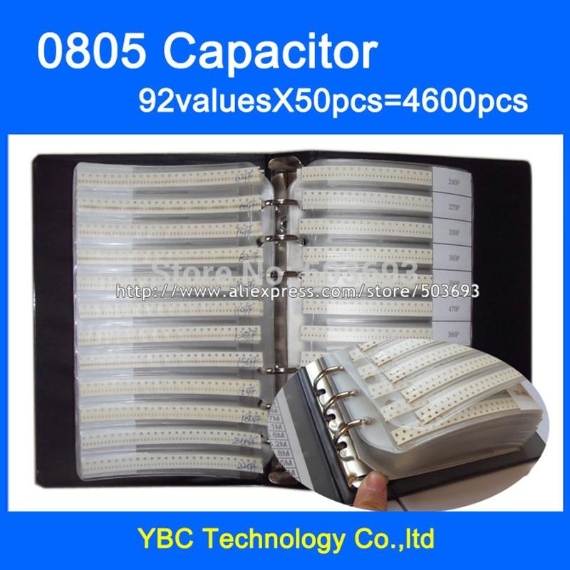Бесплатная доставка, 0805 SMD, образец конденсатора, 92valuesx50 шт. = 4600 шт. пФ ~ 10 мкФ, фотопакет