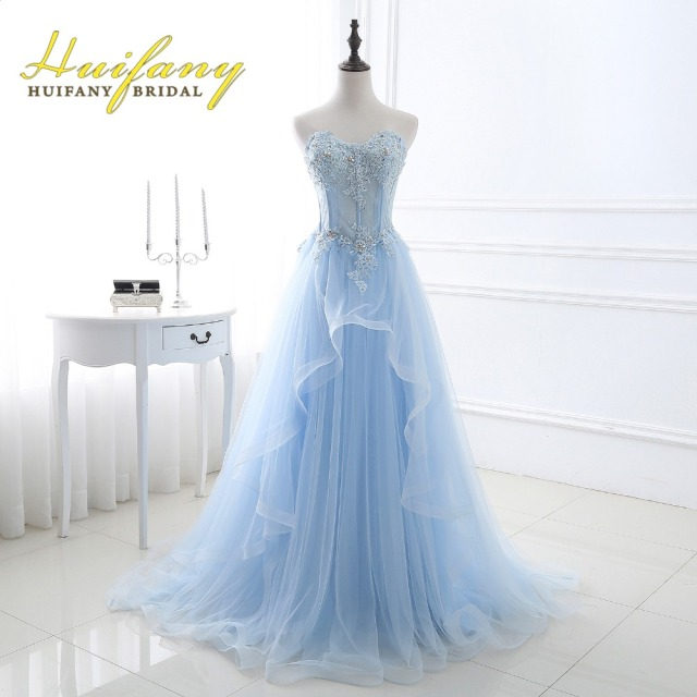 Huifany Elegant Pastel Blue Long Prom Dresses Tulle Lace Applique