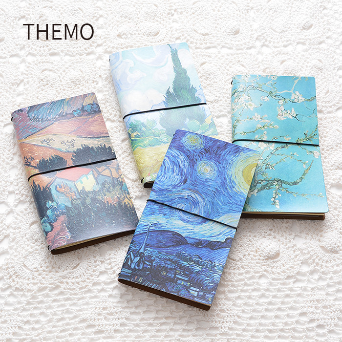 Van Gogh handbook DIY Notebook Leather Bound Travel Journal Diary Planner Agenda Gifts caderno school office supplies escolar a5 a6 6holes heart hand account page notebook notebook agenda caderno escolar office school supplies