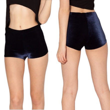 Takerlama Women Ladies Crushed Velvet Runner Shorts Sexy Slim Bodycon Flannel Short Pants Feminino Pantalones Mujer Fitness