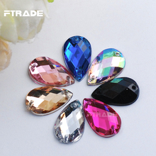 New Acrylic Sew-on Mixed Colors Crystal 8x13mm Teardrop Flatback Sewing Rhinestones 2 Hole 100Pcs Strass For DIY Decoration