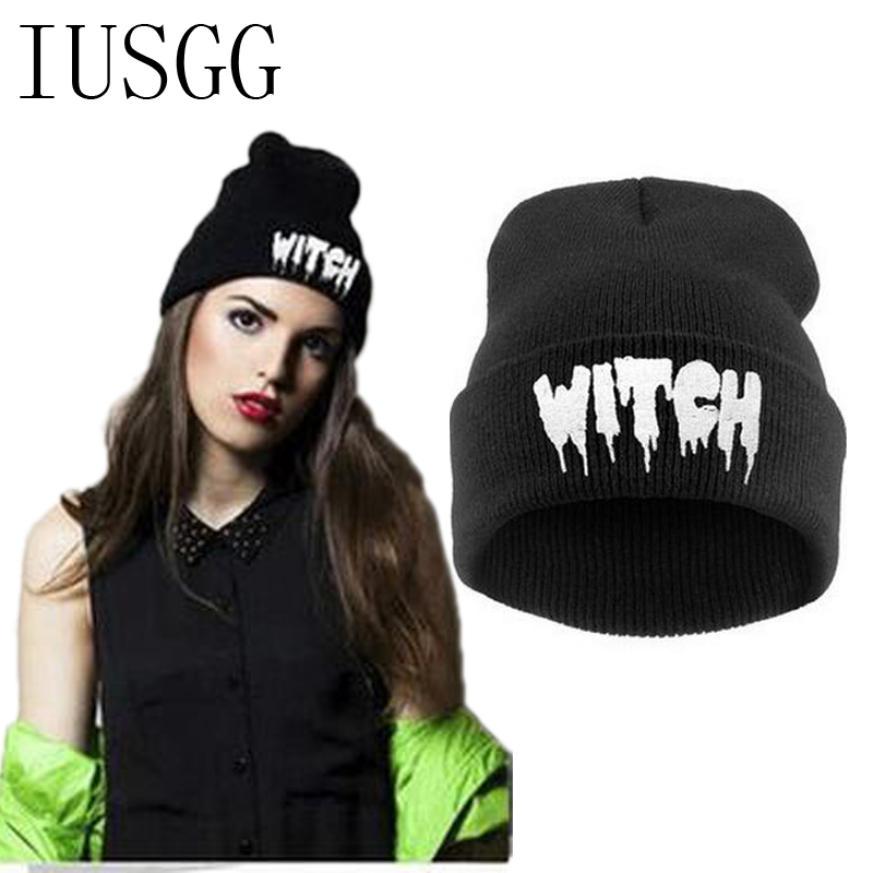 Letter WITCH Knitted Gorro Caps Men Woman Winter Hats Autumn Hip-Hop Sport Beanies Warm Skullies Unisex Casual Wholesale Hats 2017 unisex solid plain warm skullies beanies knitted touca gorro autumn winter caps hip hop slouch skullies for men women