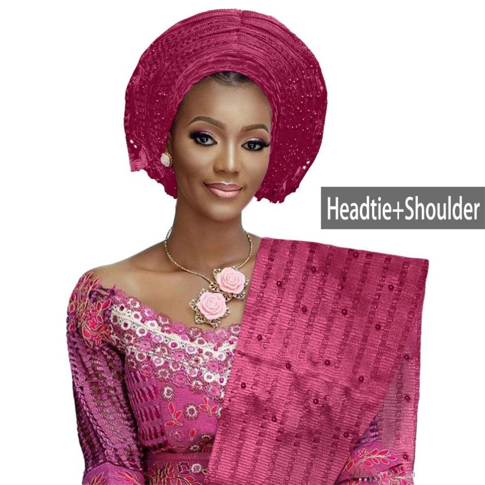African aso oke gele headtie beaded headwrap Nigerian&African Wedding Party auto gele (3)