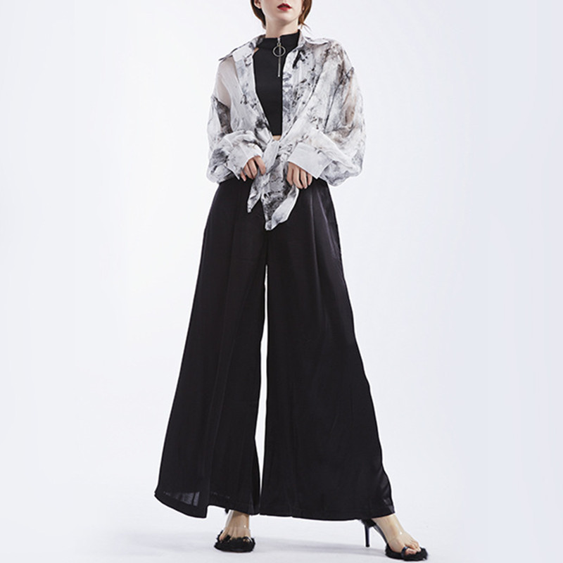 Johnature 2019 Summer Long Loose Women Full Length   Pants   New Solid Color High Wiast Streetwear Fashion   Wide     Leg     Pants   New