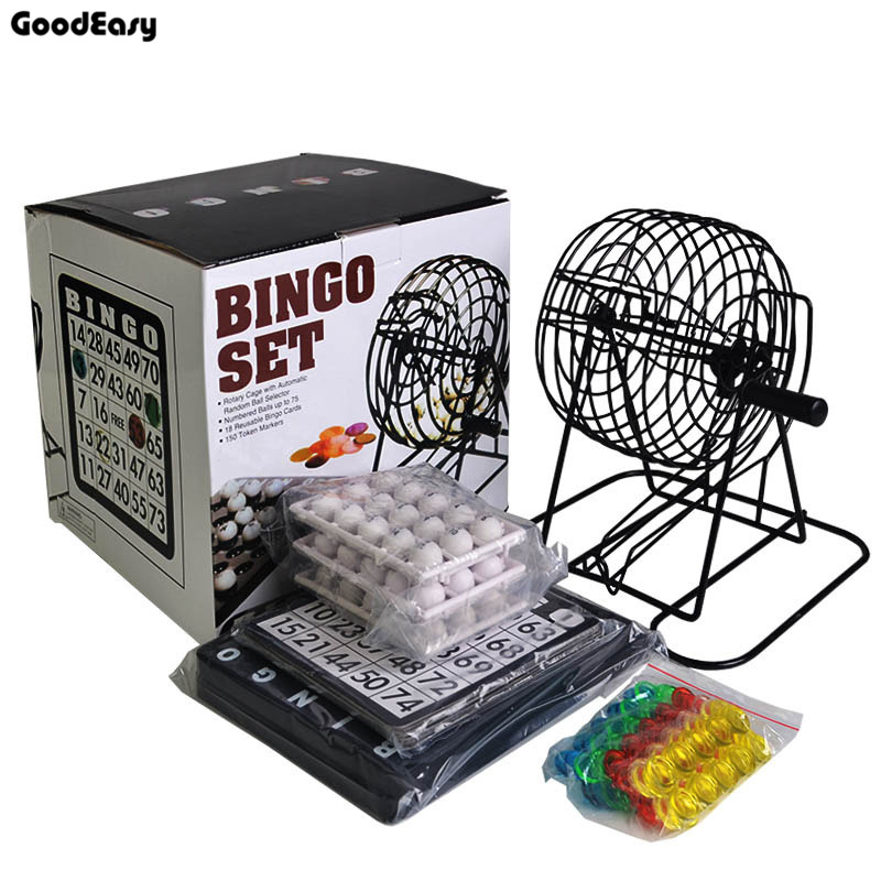 Bingo Set 75 Balls Traditional Bingo Lotto Lottery Family Game Set - Cage Balls Cards Counters Party Bingo Game Lucky Balls Game