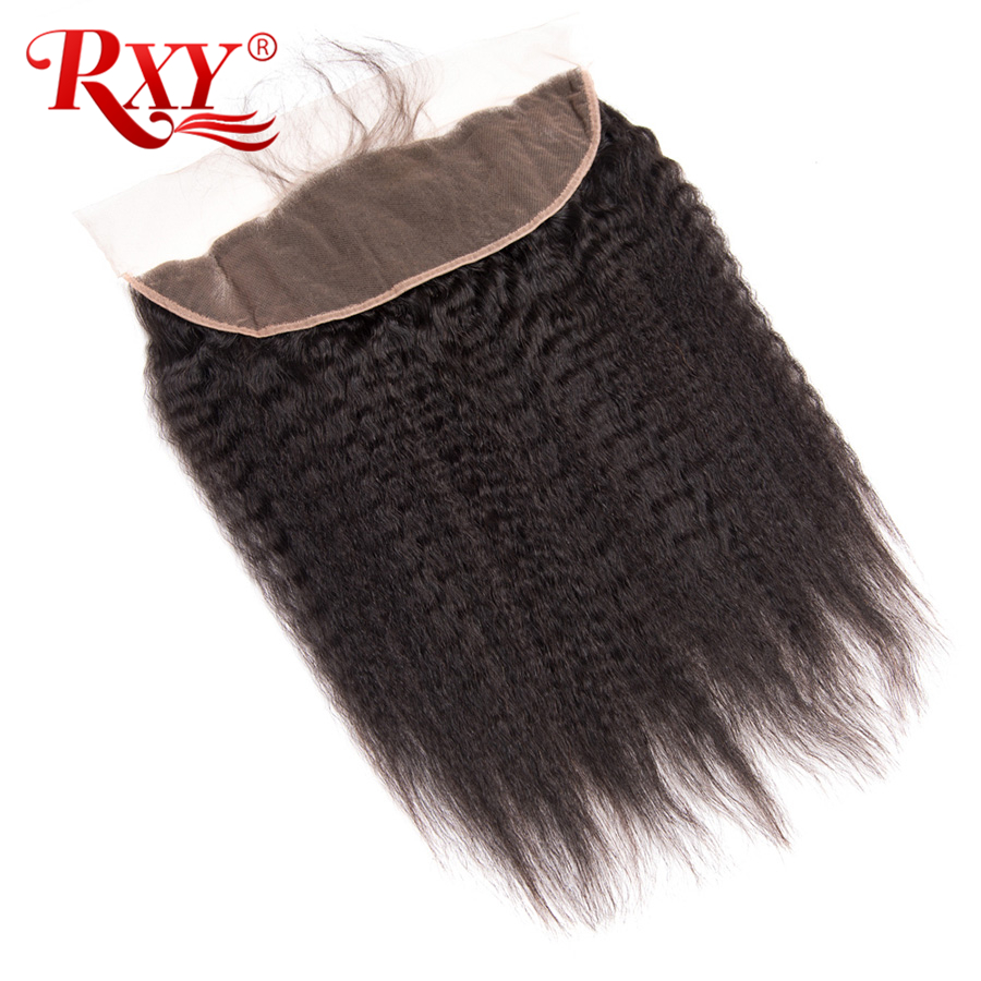 RXY Brazilian Kinky Straight Hair 13x4 Ear To Ear Lace Frontal Natural Color 100 Remy Human