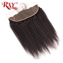 RXY бразильские кудрявые прямые волосы 13x4 уха до Кружева Фронтальные натуральные Цвет Remy человеческие волосы с