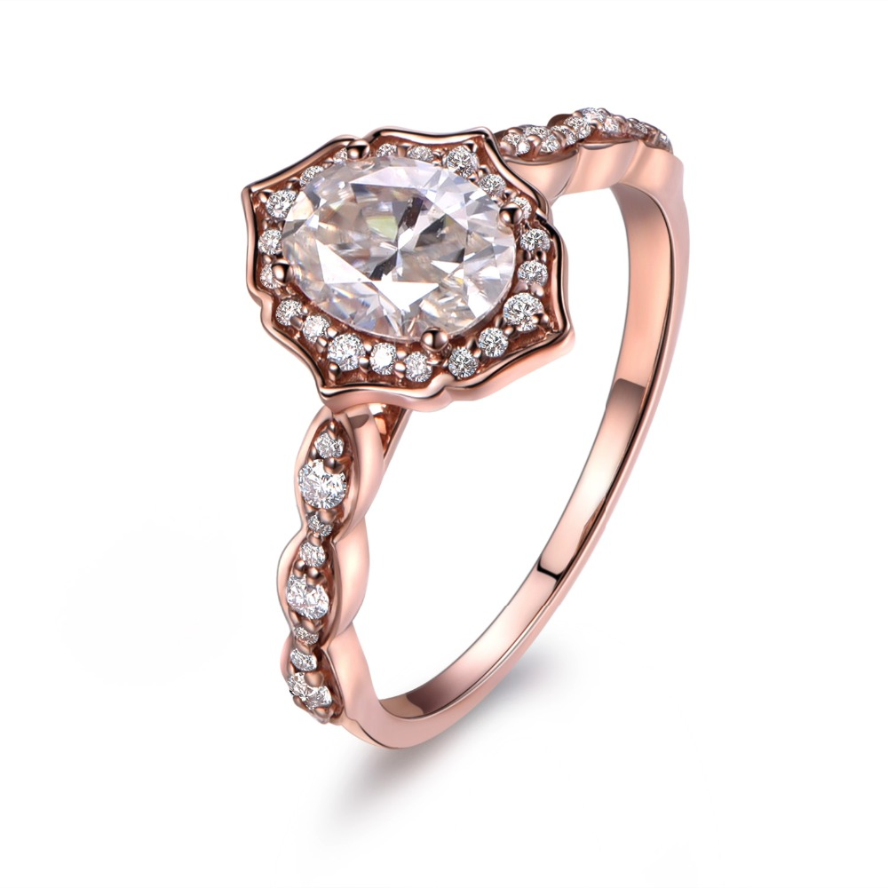 myray 6x8mm oval moissanite 14k rose gold diamond floral