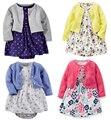 Los bebés de la primavera y el verano de conjunto de algodón mameluco dress bebés chaqueta de la rebeca de manga larga jumpsuit falda 2 unids traje