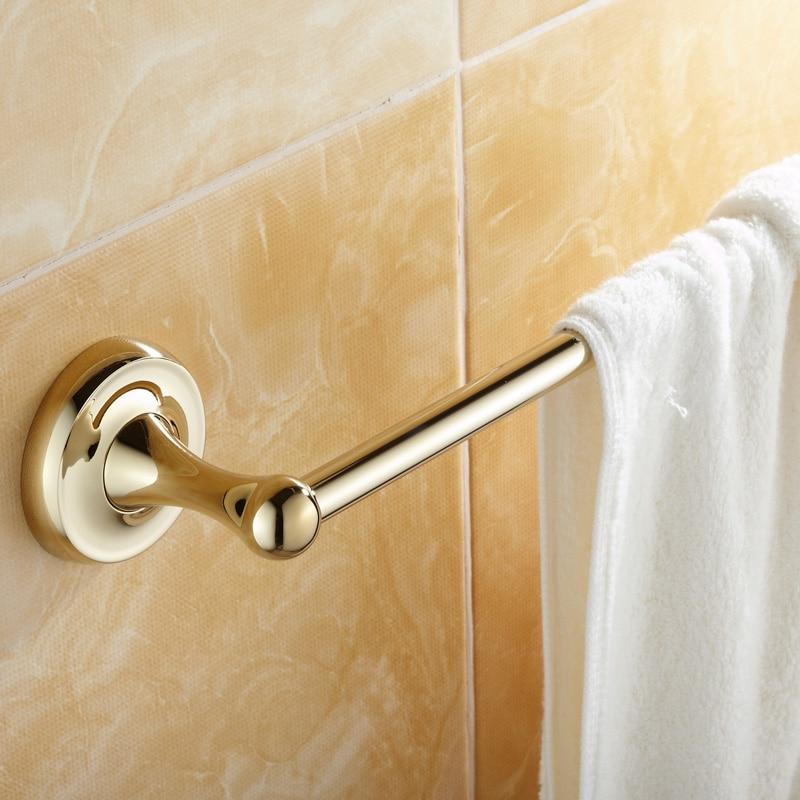 Luxury Solid Brass Towel Rack Antique Gold Single Towel Bar Polished Towel Holder Bathroom Accessories LG01 antique gold solid brass double layer towel bar luxury polished bathroom towel shelf towel rack bathroom accessories t11