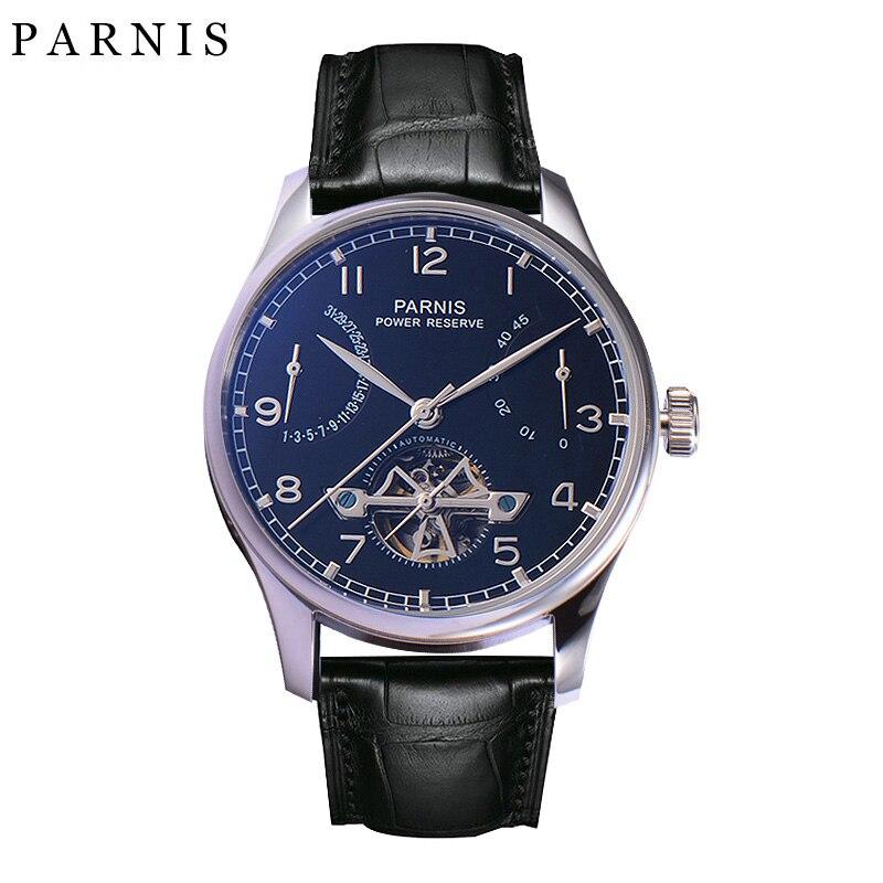 Parnis 시계 해골 크리스탈 유리 달력 30 m 방수 수영 기계식 손목 시계 남성용-에서기계식 시계부터 시계 의  그룹 1