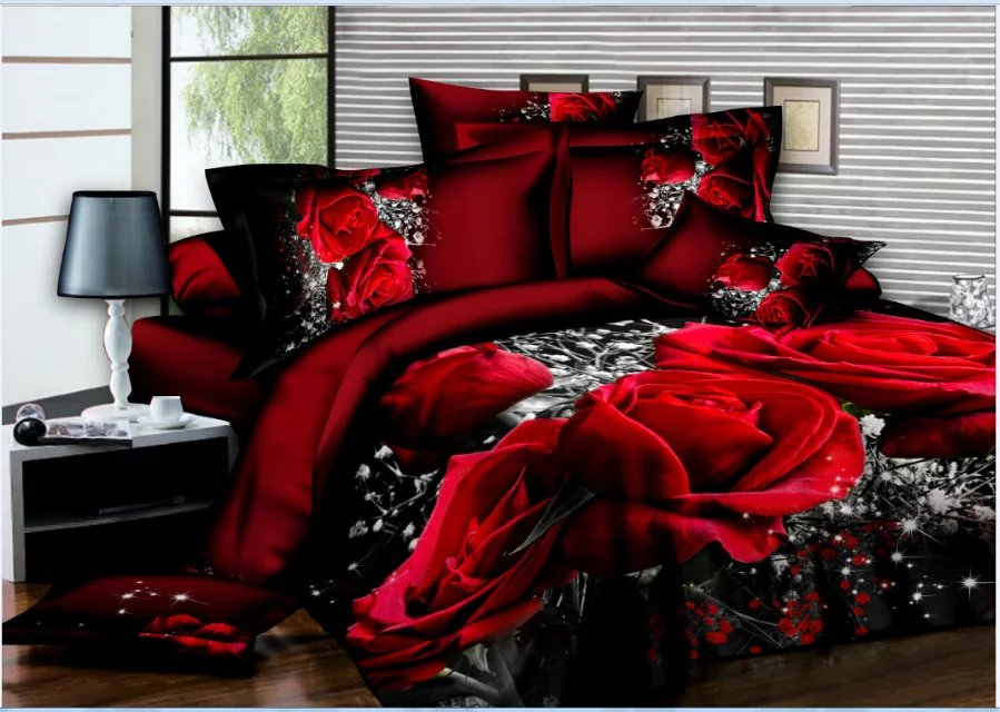 U&H Hot sale!4pcs 3d bed set bedding sets High quality.pillowcase reactive printed bedclothes queen size bed linen
