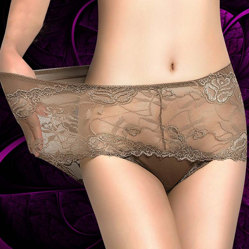 Sexy Transparent Lace Women Underwear High Waist Floral Luxurious   Panties   Elegant Soft Lingerie Calcinhas Hollow Female Briefs