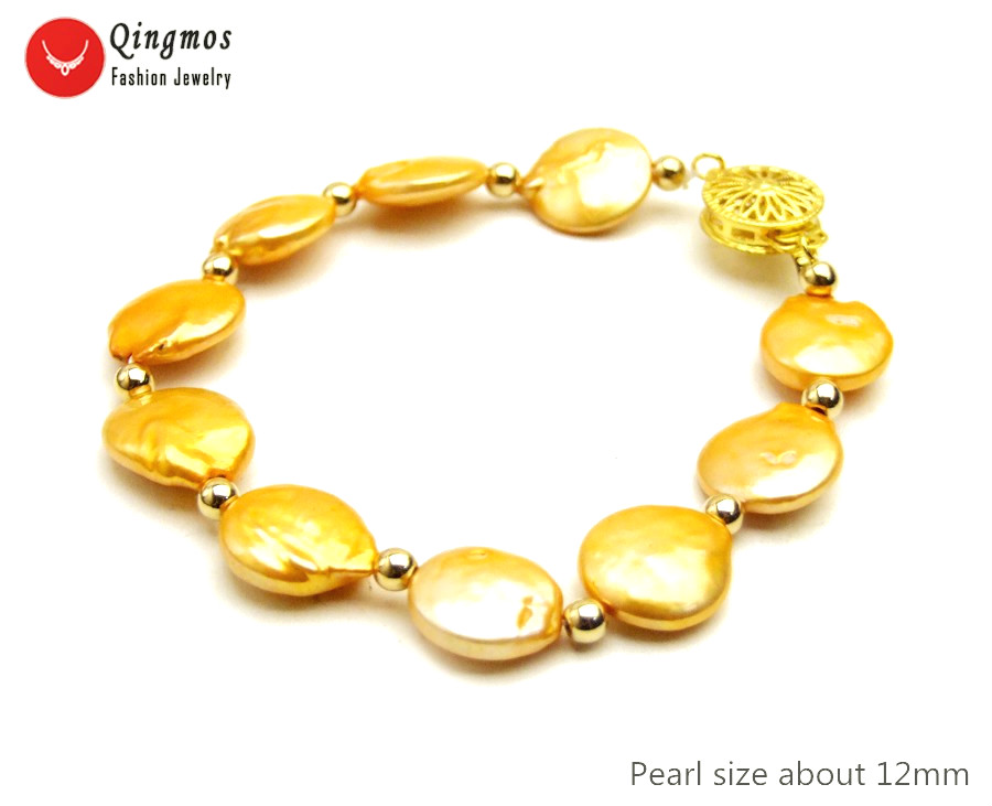 Bracelets & Bangles Bright Qingmos Trendy Natural Pearl Bracelets For Women With Orange 12-13mm Coin Round Freshwater Pearl Bracelet Fine Jewelry 7.5 B465 To Reduce Body Weight And Prolong Life Jewelry & Accessories