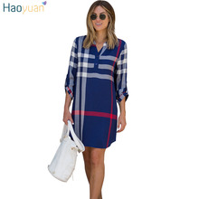 HAOYUAN Plaid Shirt Dress For Women 2017 New V-neck Woman Clothes Robe Long Sleeve Loose Casual Dresses Vestidos Autumn Dress