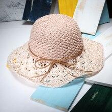 Women Summer Foldable Beach Hats 2017 New Fashion Color Block Female Large Brim Sun Hat Ladies Holiday Chapeau De Paille
