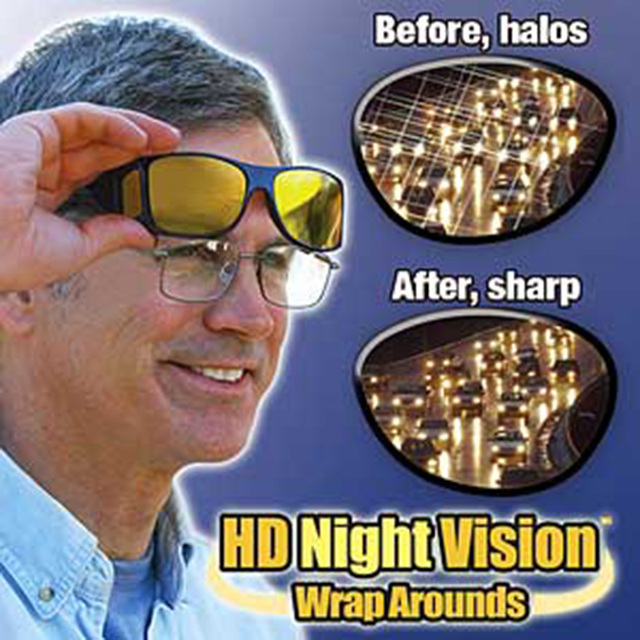 New HD Vision Glasses Over Wrap Arounds Sunglasses Men Night Driving UV400 Protective Eyewear Goggles Driver Safety Sun Glasses 5