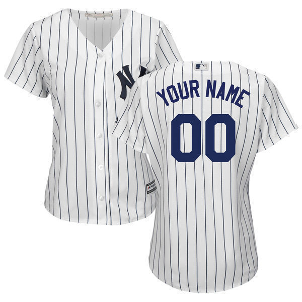 MLB Women s New York Yankees White Navy Home Cool Base Custom Jersey 5ca0d2f5cb8