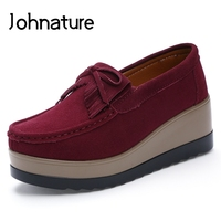 Johnature 2019 New Spring/autumn Cow Suede Casual Slip on Round Toe Comfortable Women Plataform Casual Shoes Heightened Wedges