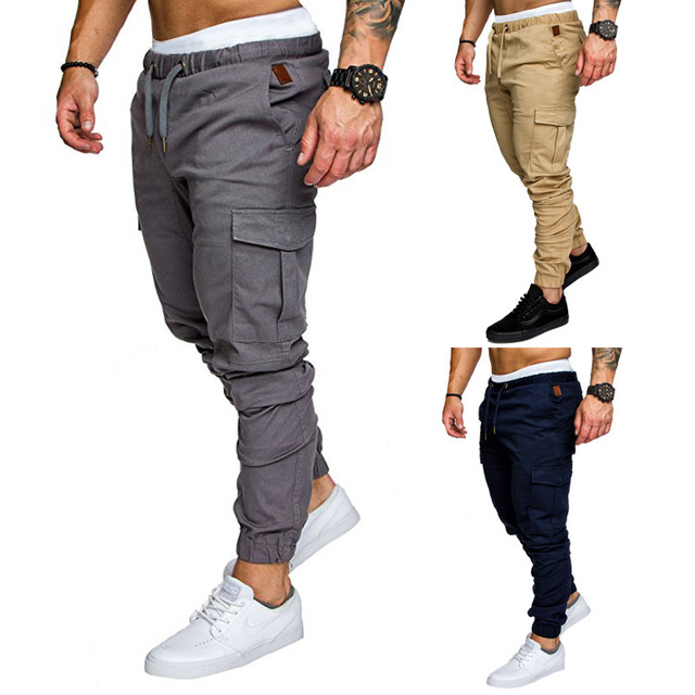 European size men's casual pants Men's cargo pants multi-pocket pants men's woven fabric casual pants with legs