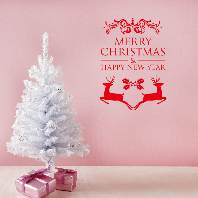MERRY CHRISTMAS HAPPY NEW YEAR Double Christmas Deers Wall
