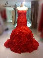 Real photo red/white Rose fiori al largo della spalla Sexy Backless della sirena Abiti Da Sposa abiti da noiva robe de mariage