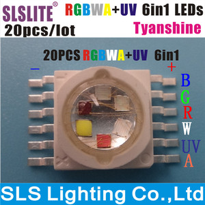 20 шт./лот Светодиодная лампа led chip 18 Вт RGBWA + UV 6 цветов в 1 TianXin бренд TYANSHINE упаковка 20 RGBWA + UV 6in1