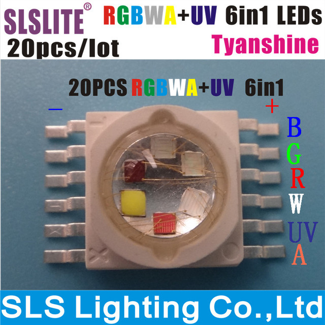 20PCS/LOT led lamp led chip 18 watts RGBWA+UV 6 color in 1 TianXin Brand TYANSHINE Pack of 20 RGBWA+UV 6in1