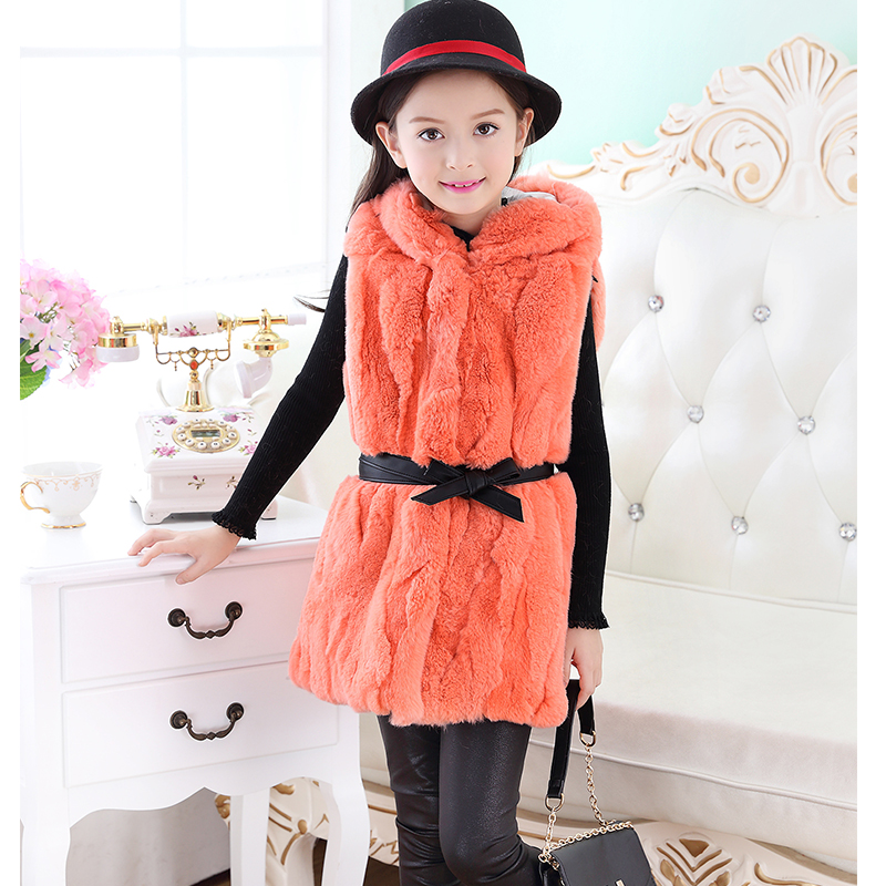 Natural Kids Rabbit Fur Vest Baby Girls Children Autumn Winter Outerwear Vest Fur Real Fur Long Section Thick Long WaistcoatV#10 2016 rex rabbit fur vest girls lovely hooded rabbits short coat vest children s solid pink and white short o neck vest for baby