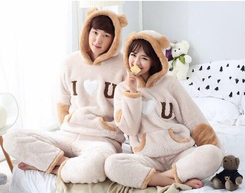Woman and Man Lovers Sleepwear pajamas tops+pants warm home cloth set