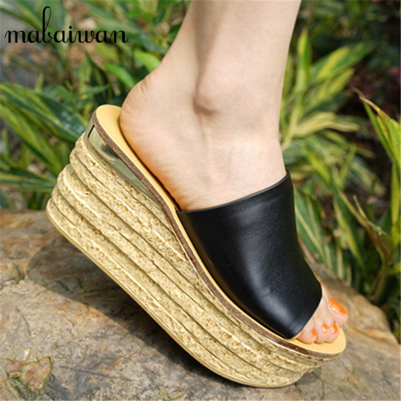 Black Women Wedge Slippers 12CM High Heel Platform Pumps Genuine Leather Shoes Woman Gladiator Sandals Slides Wedges Creepers best selling european genuine leather super high heel wedge slippers women floral wedge pumps summer shoes 4 color ml2063