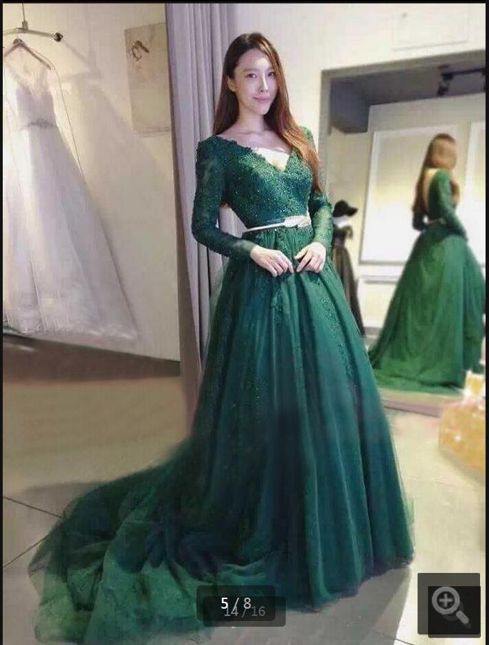 Real Picture Green Ball Gown Lace Appliques Prom Dress Long Sleeve