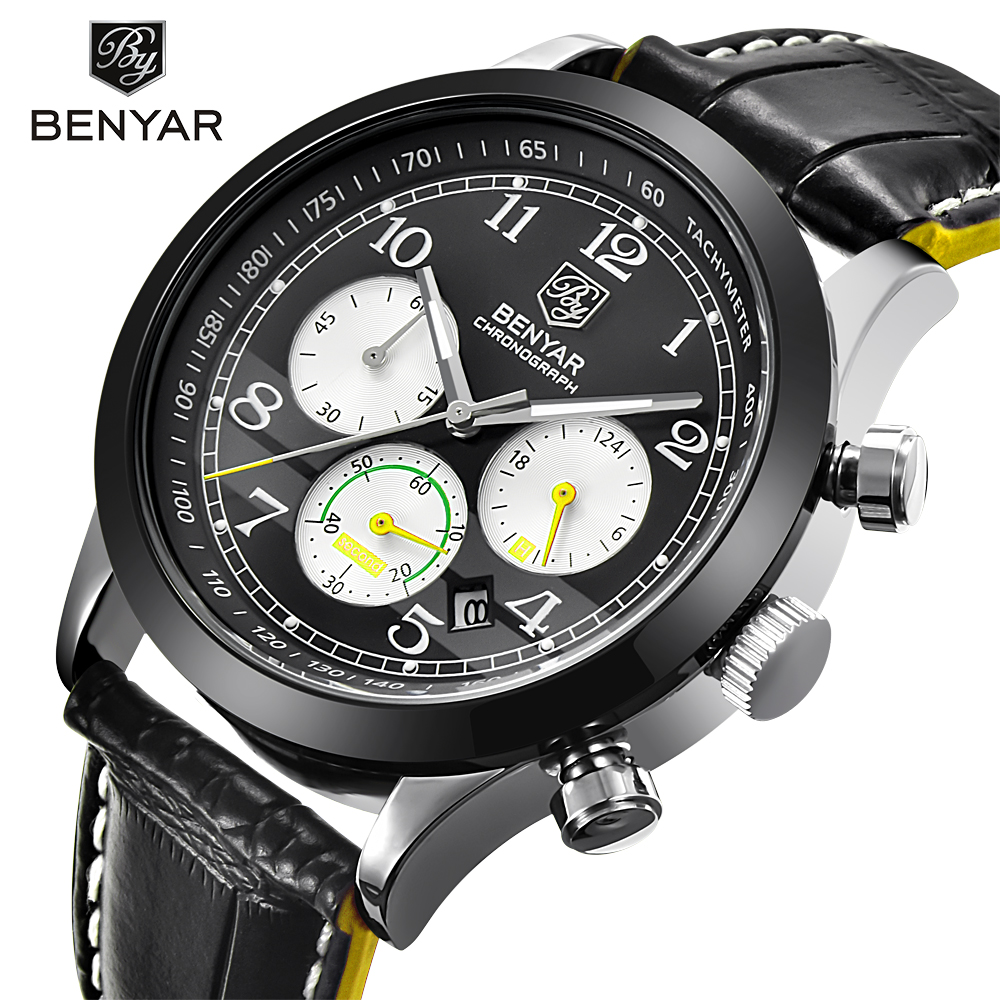 BENYAR Men Watch Sport Waterproof Chronograph Top Brand Luxury Male Leather Quartz Military Wrist Watches Man's Clock Hour saat megir sport mens watches top brand luxury male leather waterproof chronograph quartz military wrist watch men clock saat 2017