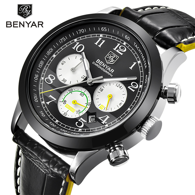 97b05bd66 BENYAR Men Watch Sport Waterproof Chronograph Top Brand Luxury Male Leather  Quartz Military Wrist Watches Man's Clock Hour saat